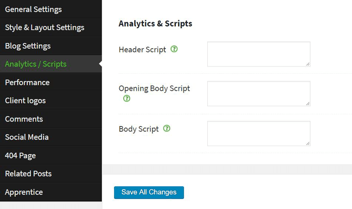 Thrive themes header scripts