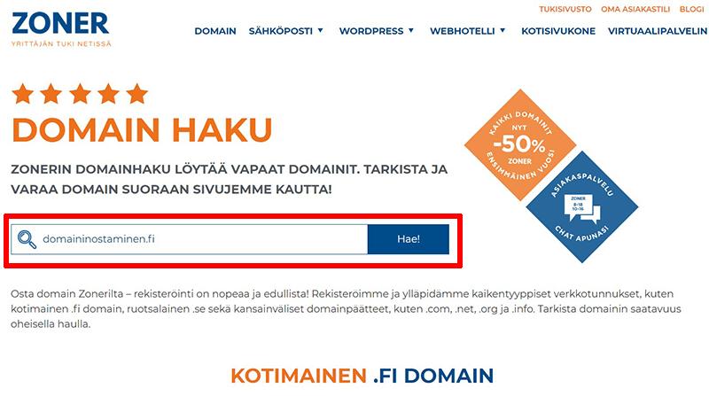 Domainin ostaminen Zonerilta